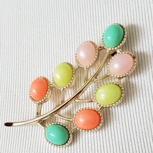 Sarah Coventry Signed Multicolor Jelly Leaf Brooch